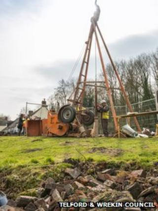Boreholes being dug as part of Ironbridge stabilisation work