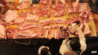 File photo: Meat at a market in China
