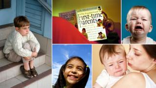 Child sitting on naughty step, man reading childcare manual, baby crying, baby crying in mother's arms, happy smiling girl