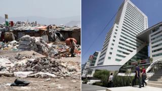 A slum and a new apartment block