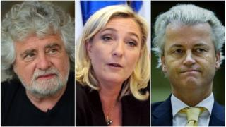 From left: Italy's Beppe Grillo, France's Marine Le Pen and the Netherlands' Geert Wilders (composite of AFP, AFP and AP images)
