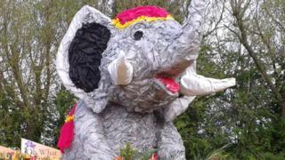 Elephant float at Spalding Flower Parade