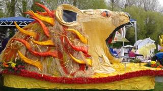 Lion float at Spalding Flower Parade