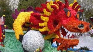 Dragon float at Spalding Flower Parade
