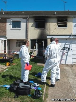 Crews assess damage at fire at house in Clacton