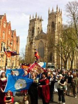 Marchers outside York Minster