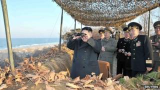 Kim Jong-un and North Korean generals (26 March 2013)