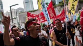 Dock workers in Hong Kong