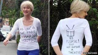Dame Helen Mirren in a T-shirt promoting the As One in the Park festival