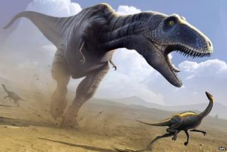 An artist's impression of a Tyrannosaurus rex hunting a smaller dinosaur
