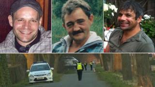 The bodies of Lukasz Slaboszewski (l), John Chapman (c) and Kevin Lee (r) were found in Cambridgeshire