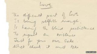 Handwritten poem entitled 'Love'