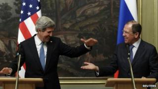 John Kerry and Sergei Lavrov shake hands in Moscow (7 May 2013)