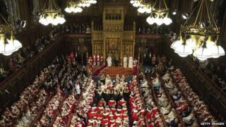Members of both Houses of Parliament fill the Chamber of the House of Lords as the Queen delivers her speech during the state opening of parliament in 2012