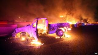 Cars and trucks caught fire in the explosion in Ecatepec on 7 May 2013