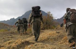 PKK fighters head towards Iraq from the mountains of south-eastern Turkey, in a photo released on 8 May