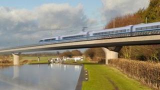 HS2 train mock-up image