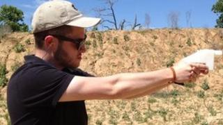 3D-printed gun being fired