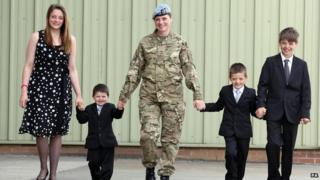 Lance Corporal Shelley Dockery and children