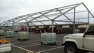 Marquees being taken down in St Peter Port, Guernsey