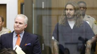 Tim Lambesis, lead singer for the heavy metal band As I Lay Dying in court in San Diego