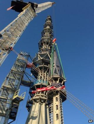 One World Trade Center spire installed in New York City