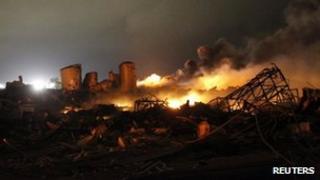The burning remains of a fertiliser plant after a huge explosion at West, Texas 18 April 2013