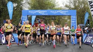 Participants running in the Bupa Great Women's 10k race in Glasgow