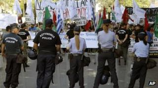 Protesters in Nicosia