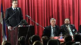 Serbian Deputy PM Aleksandar Vucic addresses a meeting in Mitrovica. 12 May 2013