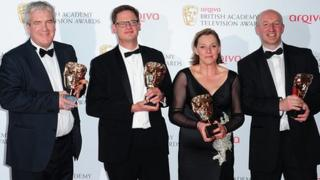 Winners of a Bafta for The Shame of the Catholic Church are: Darragh MacIntyre, Sam Collyns, Alison Millar and Seamus McCracken