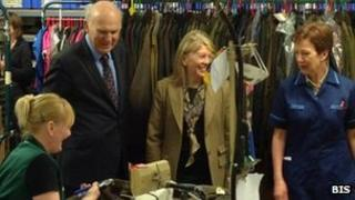 Vince Cable with Barbour staff