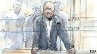 Paris courtroom sketch of Carlos the Jackal. Photo: 13 May 2013