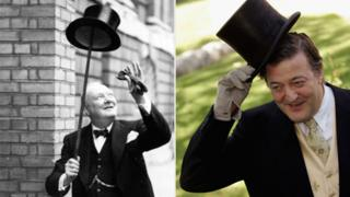 Churchill and Fry in top hats