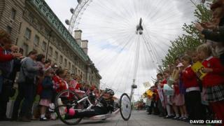 Claire Lomas at the London Eye