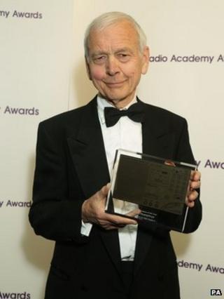 John Humphrys with his award at the Sony Awards