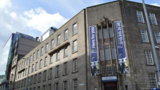 Wide shot of Central police station