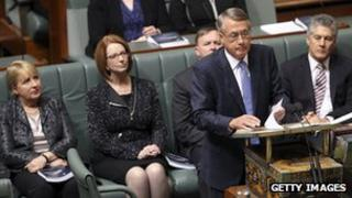 Treasurer Wayne Swan delivers the budget in the House of Representatives chamber on May 14, 2013 in Canberra