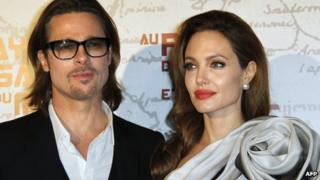 Angelina Jolie and Brad Pitt on the red carpet in February 2012