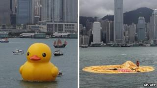 Before and after picture of a giant rubber duck that has deflated in Hong Kong's Victoria Harbour