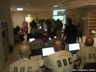 Cook County prisoners play Russian inmates via Skype, Chicago, 15 May
