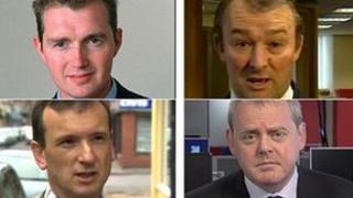 (gyda'r cloc) David Davies, Simon Hart, Guto Bebb ac Alun Cairns