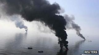 Oil burning on sea after Gulf disaster