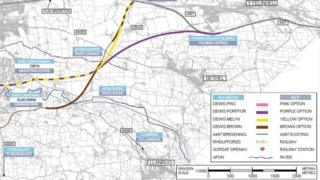 Bontnewydd bypass route options