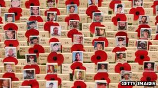 Remembrance poppies for servicemen killed in Afghanistan are planted outside Westminster Abbey. Picture from 2009.