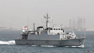 A Royal Navy Minehunter joins international warships in the Gulf