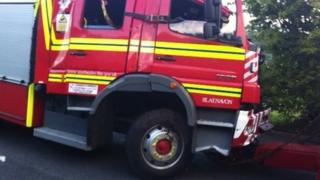 The crashed fire engine