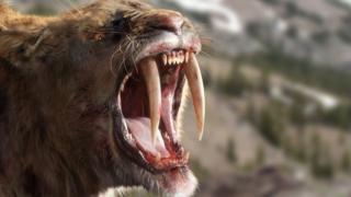 A CGI image of a sabretooth tiger