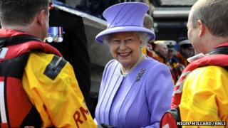 The Queen met the crew from St Ives lifeboat station. Pic: Nigel Millard/RNLI
