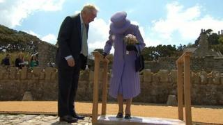Queen leaves foot impressions on St Michael's Mount